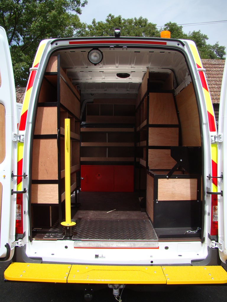 Rear of Ford Transit Metal Framed Racking