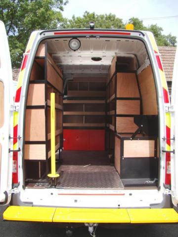 Murphy Van Racking System Utility Spec chevrons rear step bumper